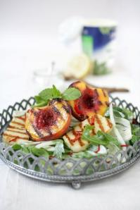 Andre's Grilled Peach and Halloumi Salad - Rozanne Stevens